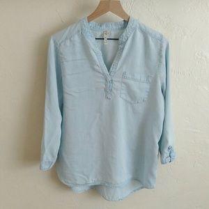 Grand & Greene Blue Chambray Pocket Shirt Top
